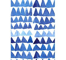 Blue Triangles in Watercolor Photographic Print