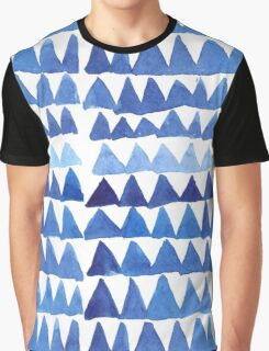 Blue Triangles in Watercolor Graphic T-Shirt