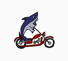 Cool Funny Blue Shark on Red Motorcycle Unisex T-Shirt