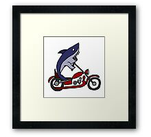 Cool Funny Blue Shark on Red Motorcycle Framed Print