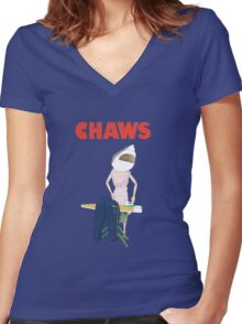 Jaws Chaws! Women's Fitted V-Neck T-Shirt