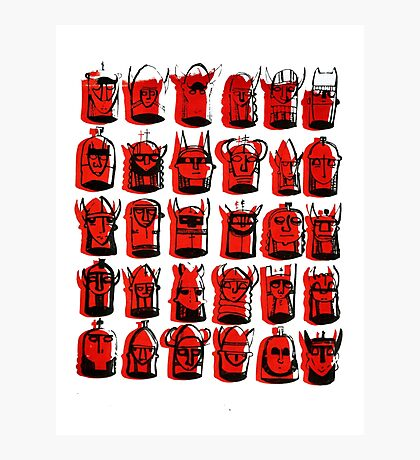 Wee Helmeted Red Folk Photographic Print