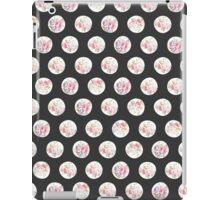 Vintage black pink organic roses flowers polka dots pattern iPad Case/Skin