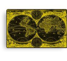 World Map (1730) Black & Yellow Canvas Print
