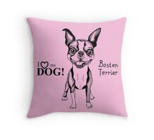 black and white Smiling dog Boston Terrier  Throw Pillow