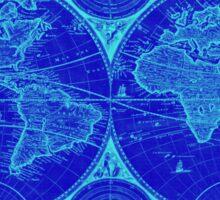 World Map (1730) Blue & Light Blue Sticker