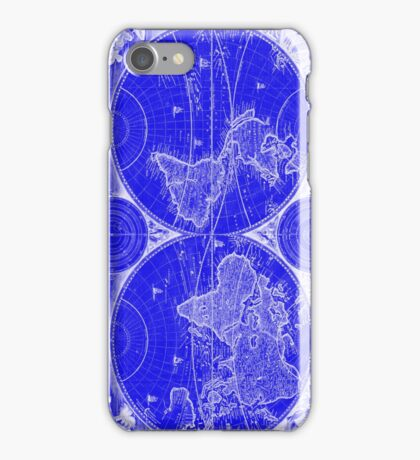 World Map (1730) Blue & White iPhone Case/Skin