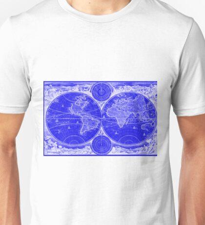 World Map (1730) Blue & White Unisex T-Shirt