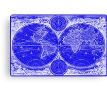 World Map (1730) Blue & White Canvas Print