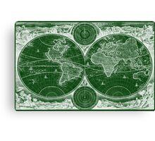 World Map (1730) Green & White Canvas Print