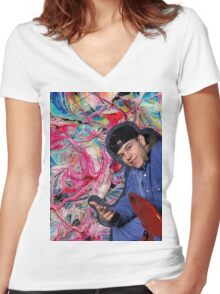Marky Mark Wahlberg beauty art  Women's Fitted V-Neck T-Shirt