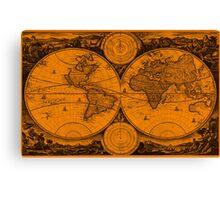 World Map (1730) Orange & Black Canvas Print