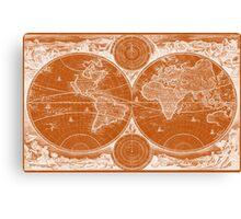 World Map (1730) Orange & White Canvas Print