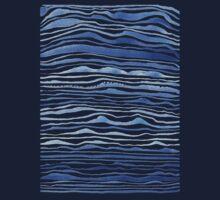blue lines in watercolor Kids Tee