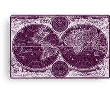 World Map (1730) Purple & White  Canvas Print