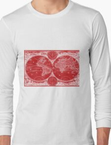World Map (1730) Red & White Long Sleeve T-Shirt