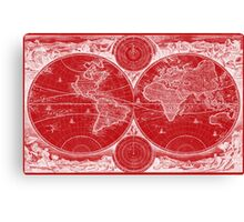 World Map (1730) Red & White Canvas Print