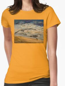 Seagulls on the beach Womens Fitted T-Shirt