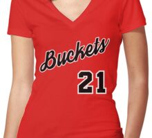 Jimmy G. Buckets Throwback Women's Fitted V-Neck T-Shirt