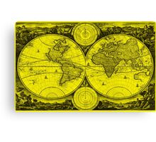World Map (1730) Yellow & Black Canvas Print