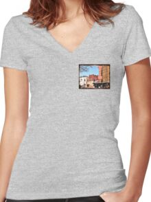 """""""That Small Town Feel""""... prints and products Women's Fitted V-Neck T-Shirt"""