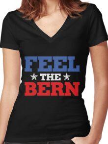 feel the bern Women's Fitted V-Neck T-Shirt