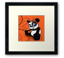 Happy Panda Floral Framed Print