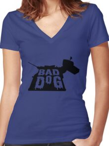 BAD DOG Women's Fitted V-Neck T-Shirt