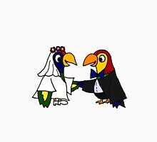 Cool Funny Parrot Birds Bride and Groom Art Unisex T-Shirt
