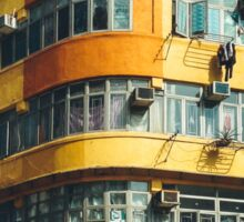 Yellow Building Facade in Hong Kong Sticker