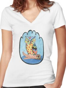 Love Owl on a Log Women's Fitted V-Neck T-Shirt