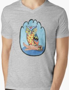 Love Owl on a Log Mens V-Neck T-Shirt