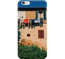 Laundry Drying on Washing Line Against Old Brick Building in Tuscany Italy iPhone Case/Skin