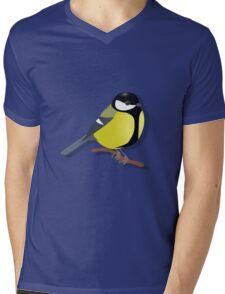 A black tit songbird sitting on a branch Mens V-Neck T-Shirt