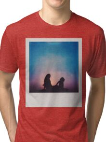 Polaroid of Mother and Child Sitting on Camper Van Roof Tri-blend T-Shirt
