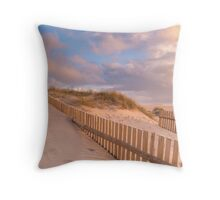 Dune Fence on Beach Throw Pillow