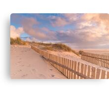 Dune Fence on Beach Canvas Print
