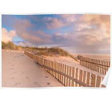 Dune Fence on Beach Poster
