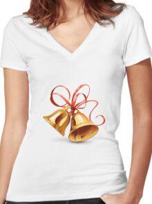 Christmas Bell Women's Fitted V-Neck T-Shirt