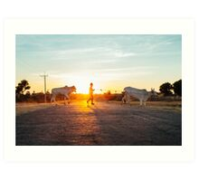 Silhouette of Boy Leading Cattle Across Road at Sunset in Burmese Countryside Art Print