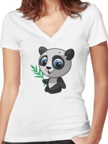 Vector illustration of a wild panda Women's Fitted V-Neck T-Shirt