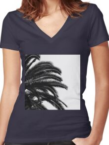 Palm tree Leaf Monochrom Half Black Photography Women's Fitted V-Neck T-Shirt