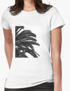 Palm tree Leaf Monochrom Half Black Photography Womens Fitted T-Shirt