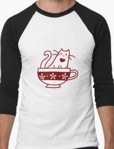 Teacup Kitty Men's Baseball ¾ T-Shirt