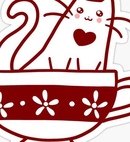 Teacup Kitty Sticker