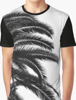 Palm tree Leaf Monochrom Half Black Photography Graphic T-Shirt