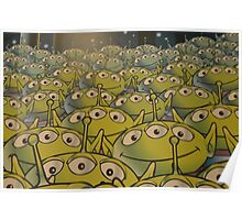 Little Green Men Friendly 3 Eyed Aliens  Poster
