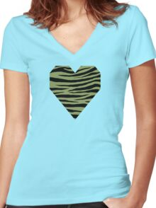 0440 Moss Green or Turtle Green Tiger Women's Fitted V-Neck T-Shirt