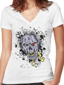 Zombie painting Women's Fitted V-Neck T-Shirt