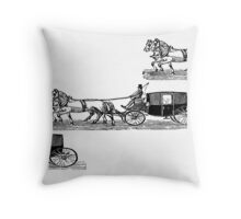 Old carriage, horses, vintage vehicle, steampunk illustration Throw Pillow